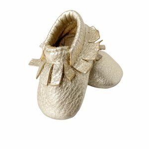Minimocs Gold leather sift sole moccasins sz1